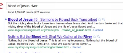 Jesus' blood like a river
