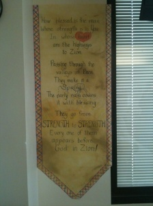 Banner of Psalm 84 in hospital room